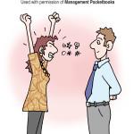 Angry woman calm man