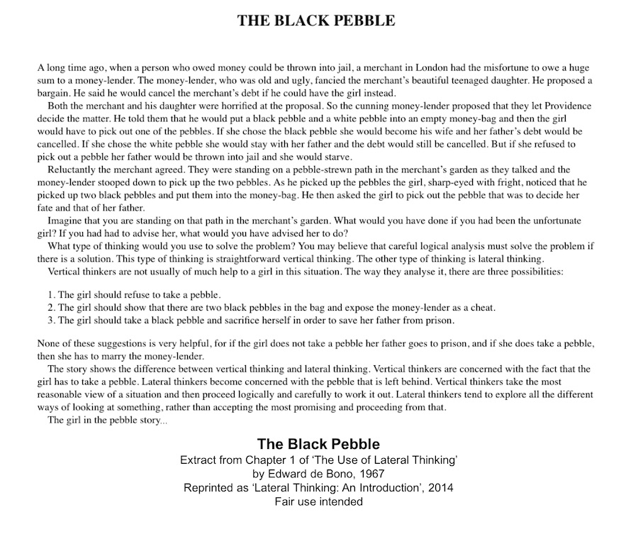 The Black Pebble - A Lateral Thinking Challenge